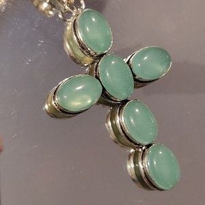 Jewelry - Big Beautiful Green Chalcedony Cross Pendant